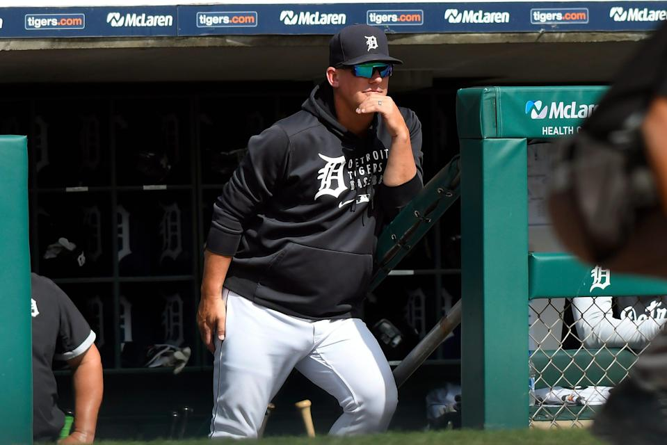 Tigers manager A.J. Hinch watches from the dugout in the fifth inning against the Royals on Sunday, Sept. 26, 2021, at Comerica Park.