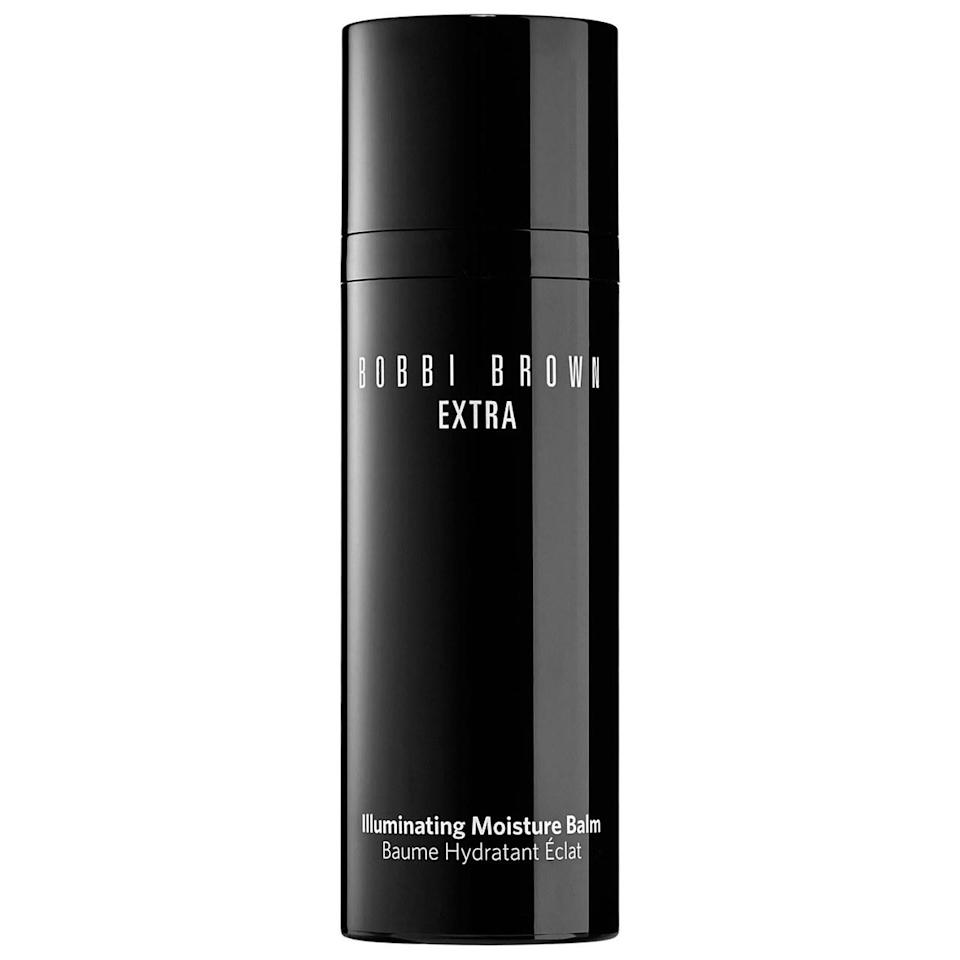 """<p>Apply on bare skin or over makeup where you need a little bit of extra glow. The super hydrating formula leaves behind a subtle shimmer. <a href=""""http://www.bobbibrowncosmetics.com/product/14007/35836/Skincare/Face-Moisturizer/Extra-Illuminating-Moisture-Balm/SS15#undefined1"""" rel=""""nofollow noopener"""" target=""""_blank"""" data-ylk=""""slk:Bobbi Brown Extra Illuminating Moisture Balm"""" class=""""link rapid-noclick-resp"""">Bobbi Brown Extra Illuminating Moisture Balm </a>($65)</p>"""