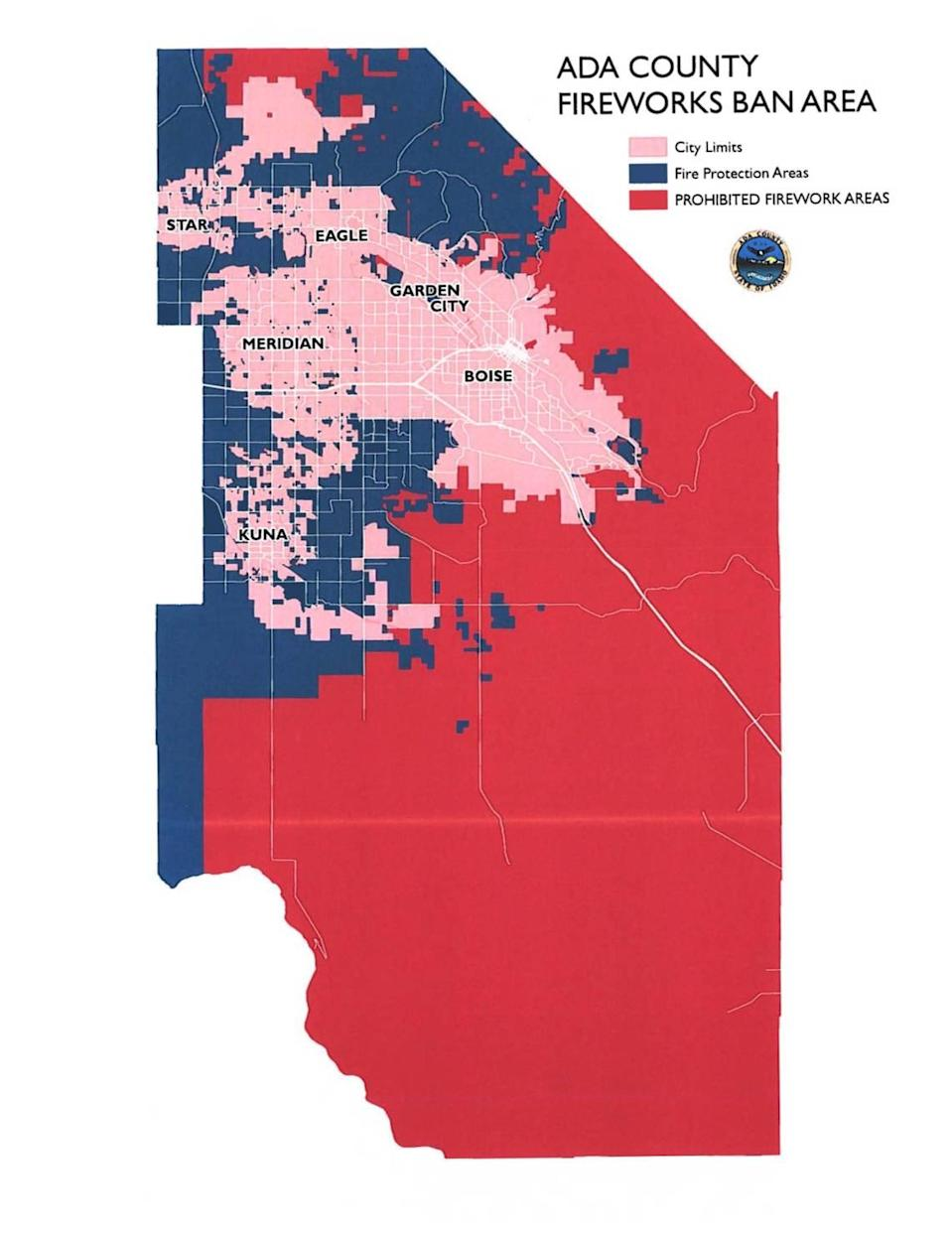 """This map shows where fireworks are banned in unincorporated Ada County. The Ada County Commission voted on June 22, 2021, to reenact a ban of all fireworks – including those deemed """"safe and sane"""" – in some parts of the county due to wildfire risk."""