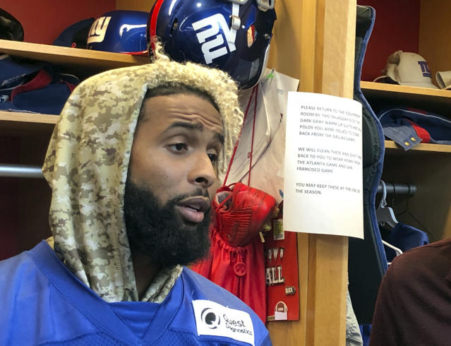 New York Giants wide receiver Odell Beckham Jr. speaks with reporters in the NFL football team's locker room, Thursday, Sept. 20, 2018, in East Rutherford, N.J. (AP Photo/Tom Canavan)