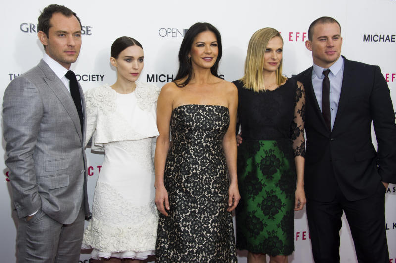 """Jude Law, from left, Rooney Mara, Catherine Zeta-Jones, Vinessa Shaw and Channing Tatum attend the premiere of """"Side Effects"""" hosted by the Cinema Society and Open Road Films on Thursday, Jan. 31, 2013 in New York. (Photo by Charles Sykes/Invision/AP)"""