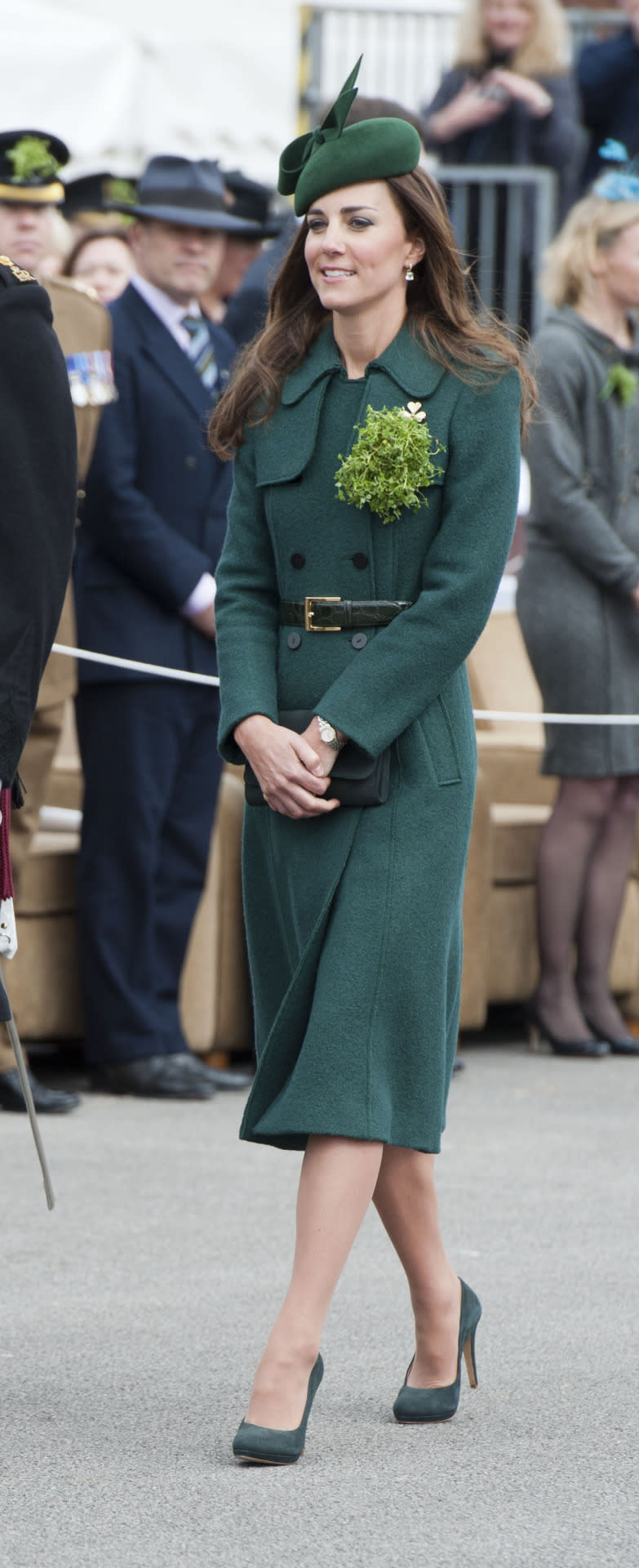 <p>For 2014's St. Patrick's Day ceremonies, Kate opted for a suitably green look by Hobbs. She accessorised with a green Gina Foster hat and suede shoes by Emmy London. </p><p><i>[Photo: PA]</i></p>