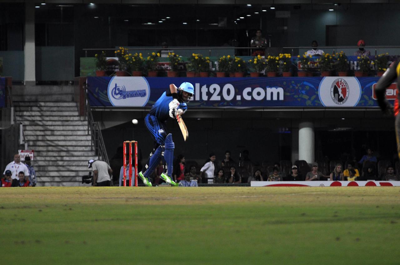 Jacques Rodulph in action during T-20 match against Sunrisers Hyderabad during Karbonn Smart Champions League Twenty-20 Match at Jharkhand State Cricket Association (JSCA) International Cricket Stadium in Ranchi on 28 Sept. 2013. (Photo: IANS)