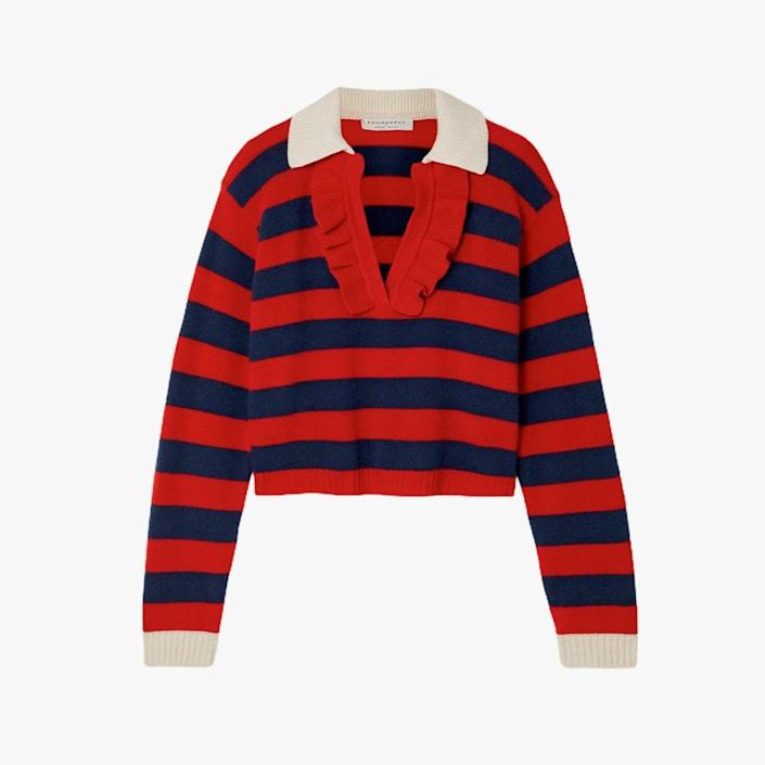 """$595, NET-A-PORTER. <a href=""""https://www.net-a-porter.com/en-us/shop/product/philosophy-di-lorenzo-serafini/clothing/polo/ruffled-striped-wool-and-cashmere-blend-sweater/11452292646700640"""" rel=""""nofollow noopener"""" target=""""_blank"""" data-ylk=""""slk:Get it now!"""" class=""""link rapid-noclick-resp"""">Get it now!</a>"""
