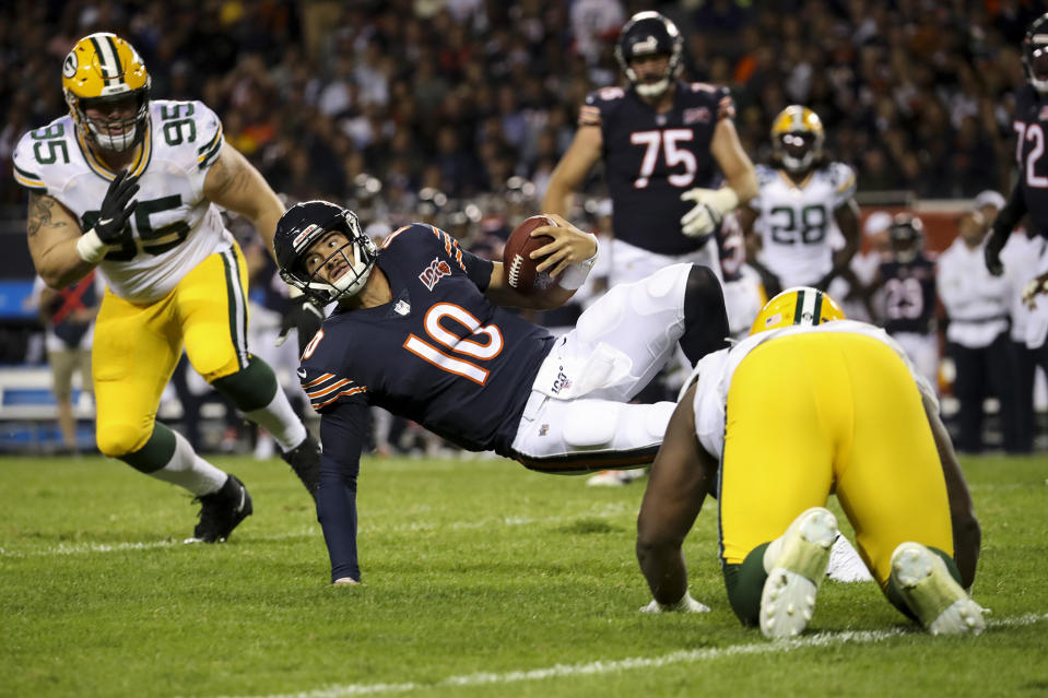 Chicago Bears quarterback Mitch Trubisky (10) is sacked on third down during the second half against the Green Bay Packers at Soldier Field in Chicago on Thursday, Sept. 5, 2019. The Packers won, 10-3. (Armando L. Sanchez/Chicago Tribune/TNS)