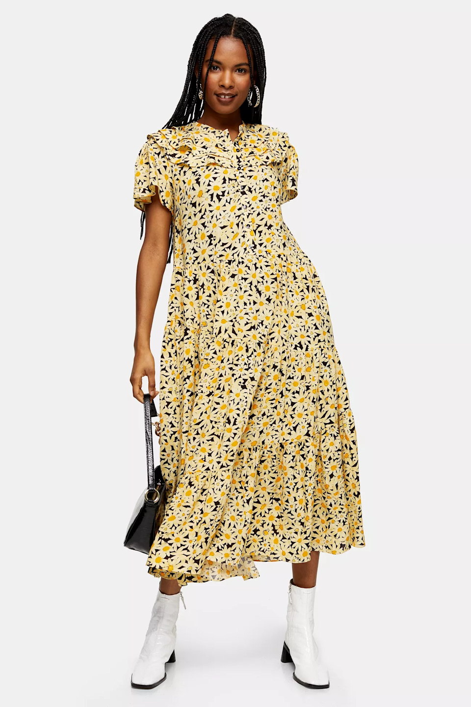 """Select summer dresses are <a href=""""https://us.topshop.com/en/tsus/category/clothing-70483/vacation-shop-4703423/dresses/N-b2hZqk3Zdgm?"""" rel=""""nofollow noopener"""" target=""""_blank"""" data-ylk=""""slk:on sale now at Topshop"""" class=""""link rapid-noclick-resp"""">on sale now at Topshop</a>. <br> <br> <strong>Topshop</strong> Yellow Daisy Grandad Midi Shirt Dress, $, available at <a href=""""https://go.skimresources.com/?id=30283X879131&url=https%3A%2F%2Fus.topshop.com%2Fen%2Ftsus%2Fproduct%2Fclothing-70483%2Fvacation-shop-4703423%2Fdaisy-grandad-midi-shirtdress-9757112"""" rel=""""nofollow noopener"""" target=""""_blank"""" data-ylk=""""slk:Topshop"""" class=""""link rapid-noclick-resp"""">Topshop</a>"""