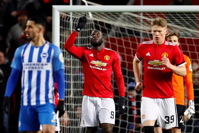 Soccer Football - FA Cup Quarter Final - Manchester United vs Brighton & Hove Albion - Old Trafford, Manchester, Britain - March 17, 2018 Manchester United's Romelu Lukaku celebrates scoring their first goal Action Images via Reuters/Jason Cairnduff