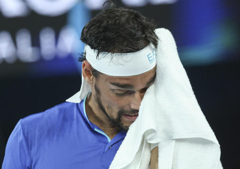 Italy's Fabio Fognini reacts during his match against Russia's Andrey Rublev in the ATP Cup final in Melbourne, Australia, Sunday, Feb. 7, 2021.(AP Photo/Hamish Blair)