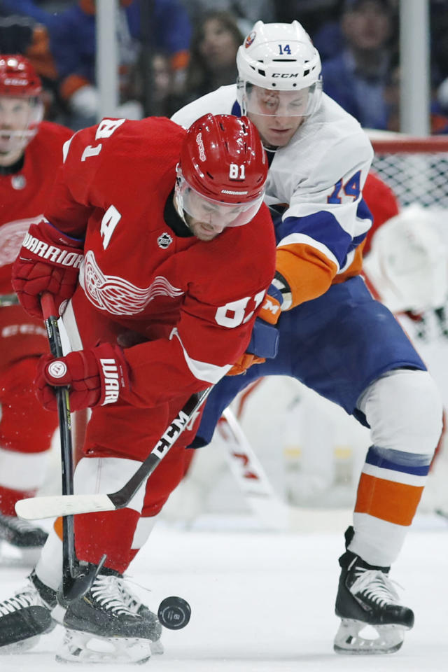 Detroit Red Wings center Frans Nielsen (81) and New York Islanders right wing Tom Kuhnhackl (14) go after the puck during the first period of an NHL hockey game Friday, Feb. 21, 2020, in Uniondale, N.Y. (AP Photo/Kathy Willens)