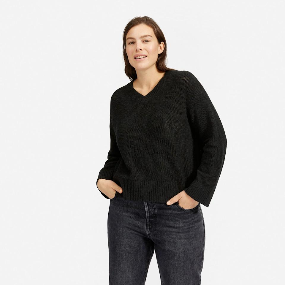 """<p><strong>everlane</strong></p><p>everlane.com</p><p><a href=""""https://go.redirectingat.com?id=74968X1596630&url=https%3A%2F%2Fwww.everlane.com%2Fproducts%2Fwomens-ctn-linen-v-neck-washedblack&sref=https%3A%2F%2Fwww.womenshealthmag.com%2Fstyle%2Fg35904128%2Feverlane-spring-sale-restock-2021%2F"""" rel=""""nofollow noopener"""" target=""""_blank"""" data-ylk=""""slk:Shop Now"""" class=""""link rapid-noclick-resp"""">Shop Now</a></p><p><strong><del>$64</del> $38 (40% off)</strong></p><p>This will probably become <em>that</em> cozy go-to sweater you keep on-hand, by your desk, bed, or in the car at all times.</p>"""