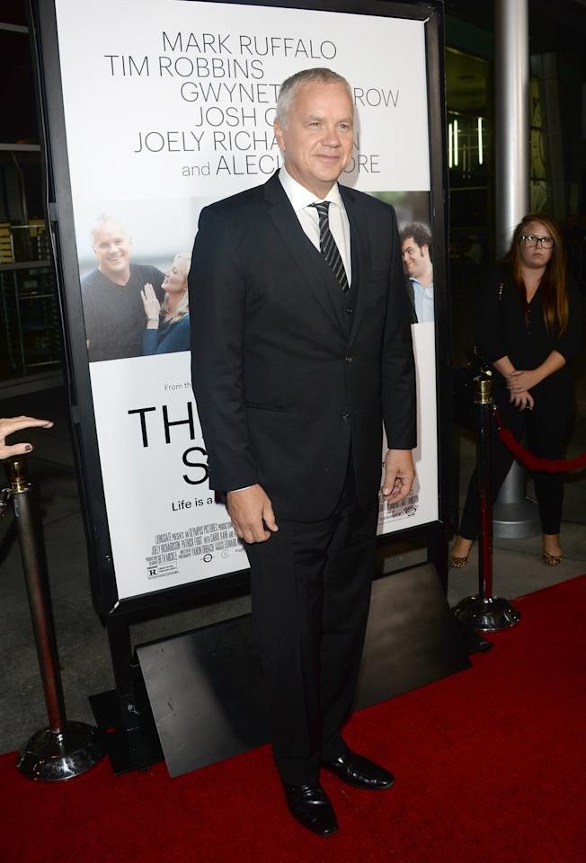 "HOLLYWOOD, CA - SEPTEMBER 16: Actor Tim Robbins attends the premiere of Roadside Attractions' ""Thanks For Sharing"" at ArcLight Cinemas on September 16, 2013 in Hollywood, California. (Photo by Jason Merritt/Getty Images)"