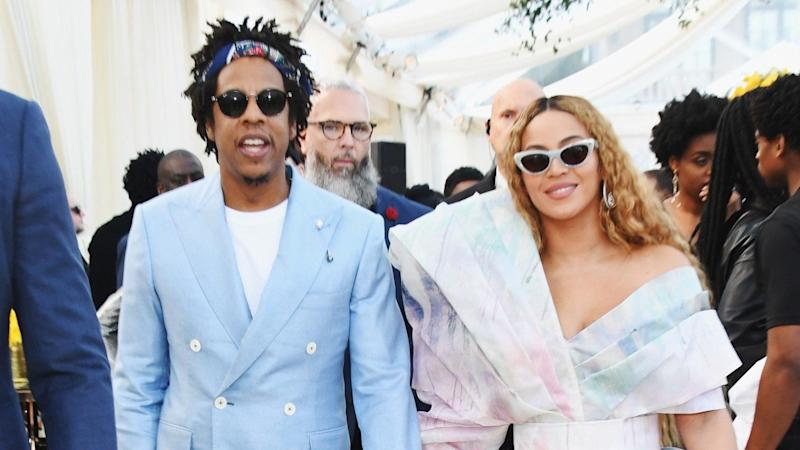 Beyoncé and JAY-Z Color Coordinate in Stylish Pastel Looks for Roc Nation Brunch