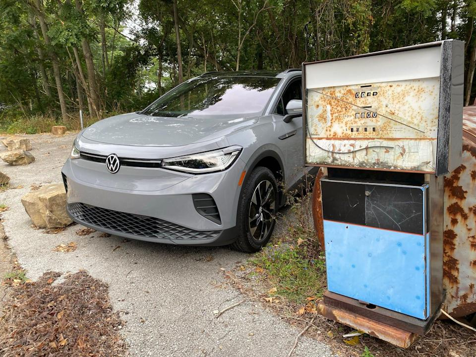 An electric 2021 Volkswagen ID4 AWD SUV in rural Tennessee.