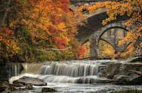 """<p><strong>Where to go:</strong> The Berea Falls in the <a href=""""https://www.clevelandmetroparks.com/parks/visit/parks/rocky-river-reservation"""" rel=""""nofollow noopener"""" target=""""_blank"""" data-ylk=""""slk:Rocky River Reservation"""" class=""""link rapid-noclick-resp"""">Rocky River Reservation</a> are just a stone's throw from Cleveland. Come see willows, sycamores, and cottonwoods dot the massive shale cliffs.</p><p><strong>When to go:</strong> Late October</p><p><a class=""""link rapid-noclick-resp"""" href=""""https://go.redirectingat.com?id=74968X1596630&url=https%3A%2F%2Fwww.tripadvisor.com%2FHotels-g50207-Cleveland_Ohio-Hotels.html&sref=https%3A%2F%2Fwww.redbookmag.com%2Flife%2Fg34045856%2Ffall-colors%2F"""" rel=""""nofollow noopener"""" target=""""_blank"""" data-ylk=""""slk:FIND A HOTEL"""">FIND A HOTEL</a></p>"""
