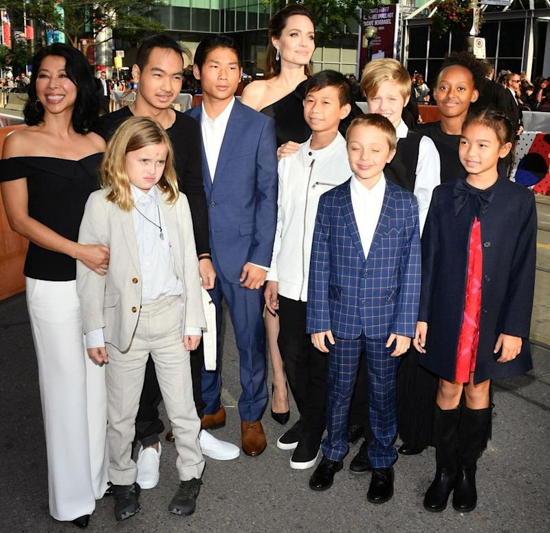 Angelina Jolie with her children at the Toronto Film Festival