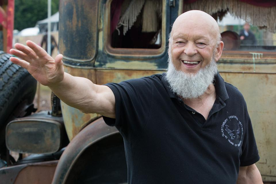 Glastonbury festival founder Michael Eavis backstage at the Glastonbury music festival on Sunday, June 28, 2015 at Worthy Farm, Glastonbury, England. (Photo by Jim Ross/Invision/AP)