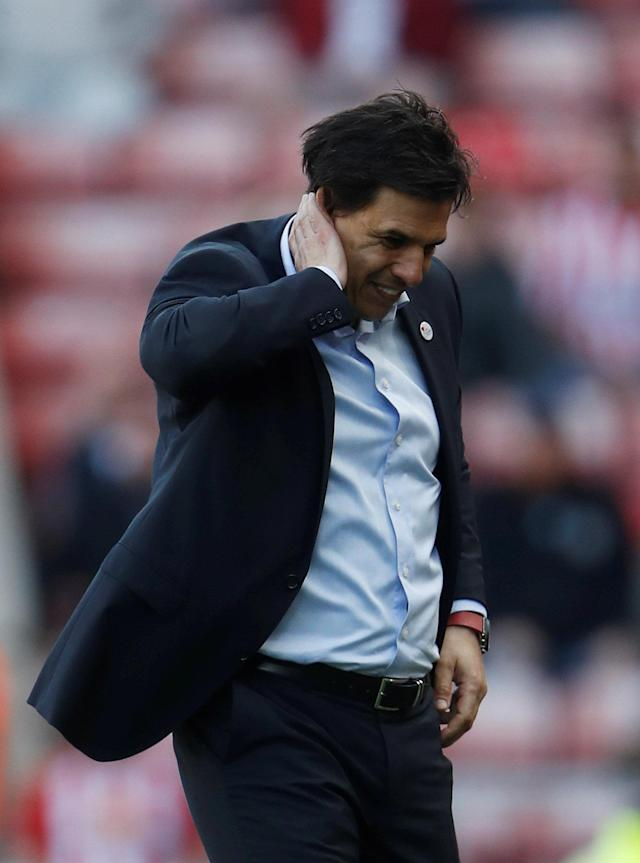"Soccer Football - Championship - Sunderland v Burton Albion - Stadium of Light, Sunderland, Britain - April 21, 2018 Sunderland manager Chris Coleman reacts Action Images/Lee Smith EDITORIAL USE ONLY. No use with unauthorized audio, video, data, fixture lists, club/league logos or ""live"" services. Online in-match use limited to 75 images, no video emulation. No use in betting, games or single club/league/player publications. Please contact your account representative for further details."