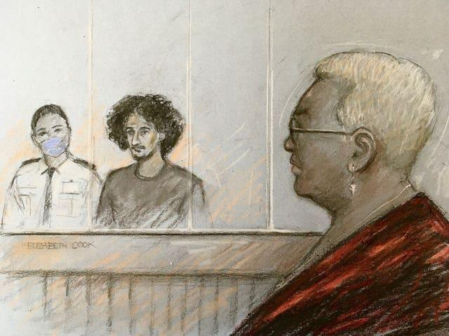 Mina Smallman looking on as Danyal Hussein appears in the dock at the Old Bailey