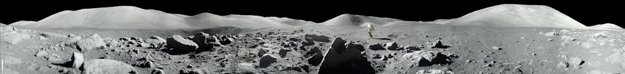 NASA has released a set of amazing panoramas from the Apollo moon landing sites to mark the 50th anniversary of what the astronauts experienced (Picture: NASA)