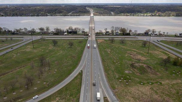 PHOTO: In this April 12, 2021, file photo, the Interstate 80 bridge over the Mississippi River between Iowa and Illinois is shown in Le Claire, Iowa. (Erin Hooley/Chicago Tribune via TNS via Newscom, FILE)