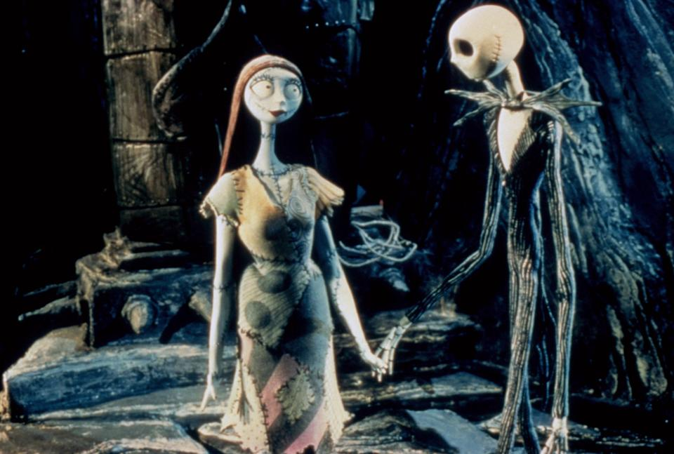 Jack Skellington, voiced by Chris Sarandon and Danny Elfman, and Sally, voiced by Catherine O'Hara, in <em>The Nightmare Before Christmas.</em> (Image: Disney/Buena Vista Pictures/Everett Collection)