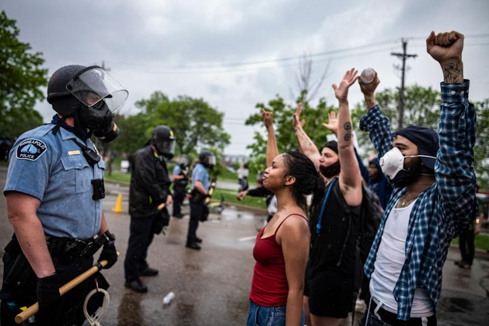 Most protesters were peaceful while a few started destroying police property. Source: Getty Images