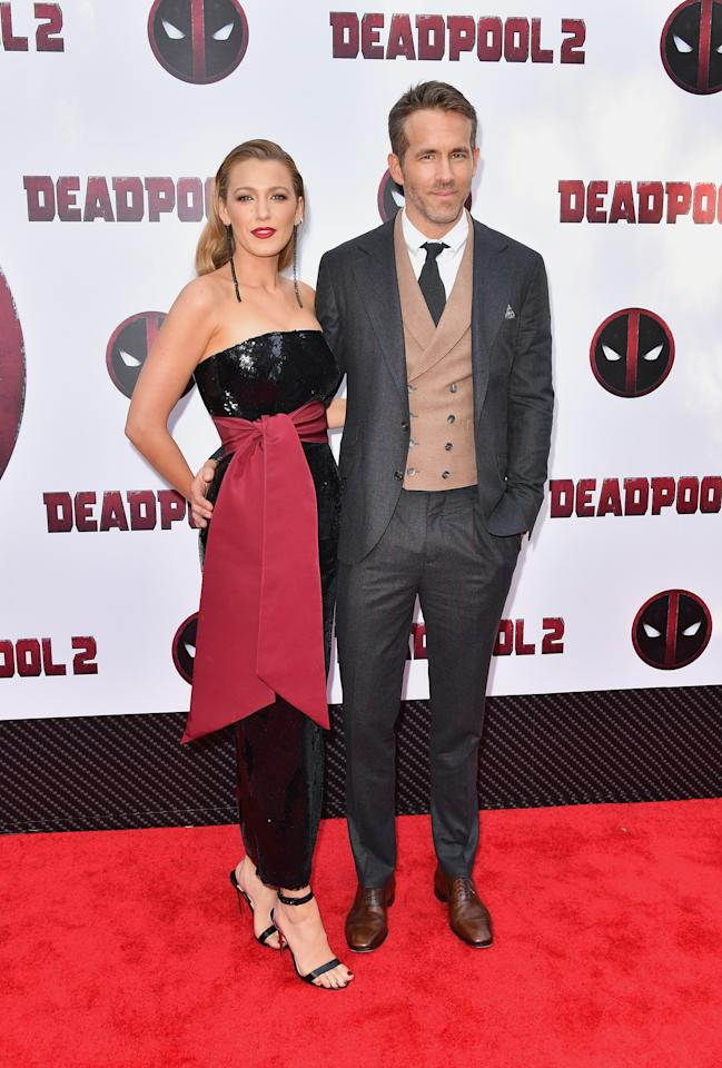 <p>Blake supported her husband, Ryan, at a NYC 'Deadpool 2' screening in mid-May. For the occasion, the actress glittering dress from Brandon Maxell's resort 2019 collection. Meanwhile Ryan looked sharp in a three-piece suit. <em>[Photo: Getty]</em> </p>