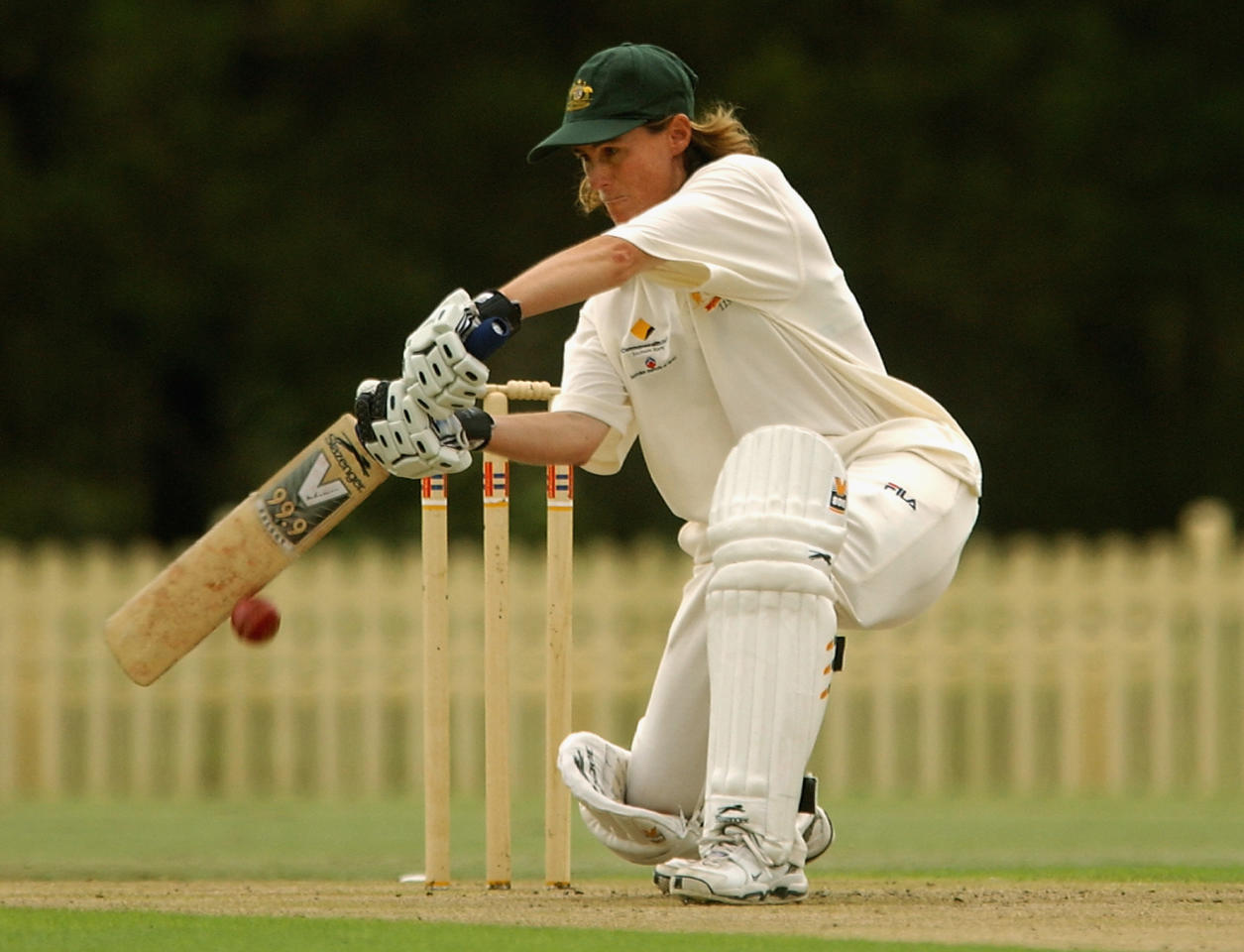 SYDNEY - FEBRUARY 26:  Belinda Clark of Australia in action during the first days play in the second test of the Womens Cricket Ashes series between Australia and England played at Bankstown Oval in Sydney, Australia on February 26, 2003. (Photo by Chris McGrath/Getty Images)