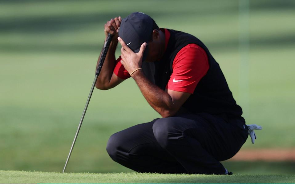 Tiger Woods of the United States reacts - Rob Carr/Getty Images