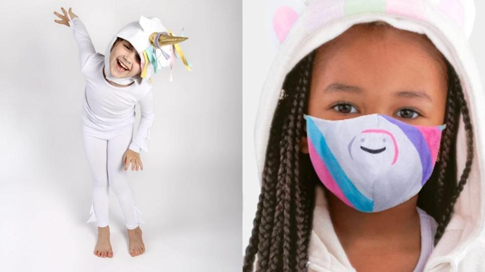 For a magical Halloween night, this beautiful unicorn costume and mask.