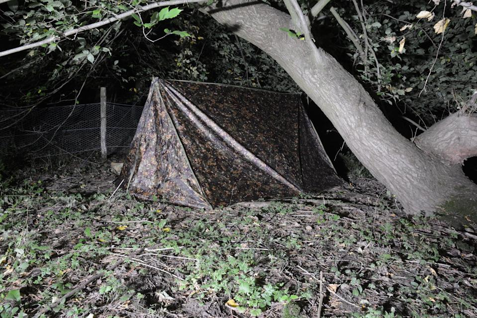 Pearson's tent set up in the woods. (North Yorkshire Police)