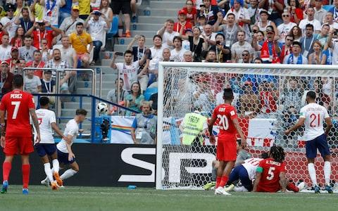 John Stones scores his second England goal - Credit: AP Photo/Victor Caivano