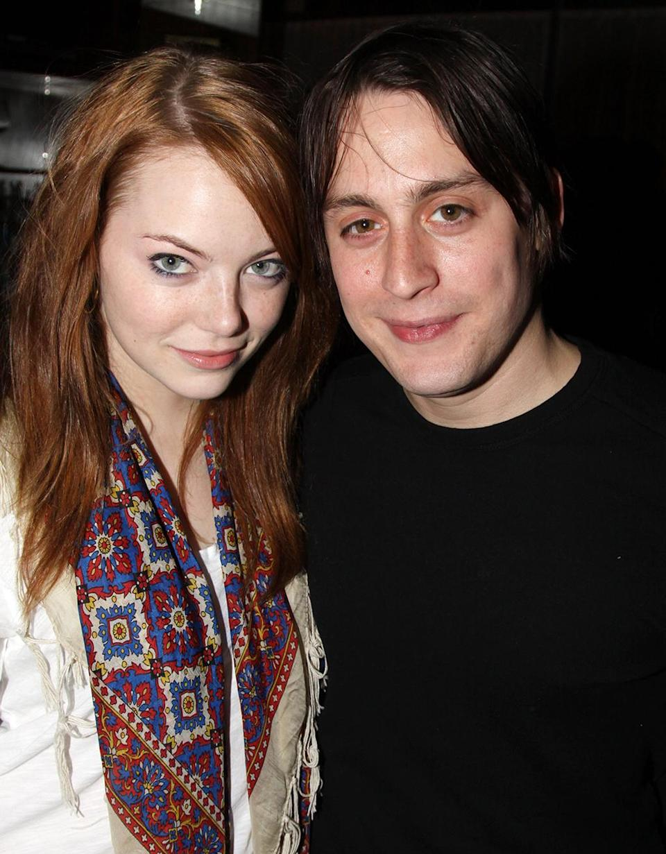 <p>Stone and then boyfriend Kieran Culkin attend the <em>The Starry Messenger</em> Broadway cast party on Nov. 11, 2009. The pair began dating after appearing in the film <em>Paper Man</em> earlier that year. (Photo: Bruce Glikas/FilmMagic) </p>