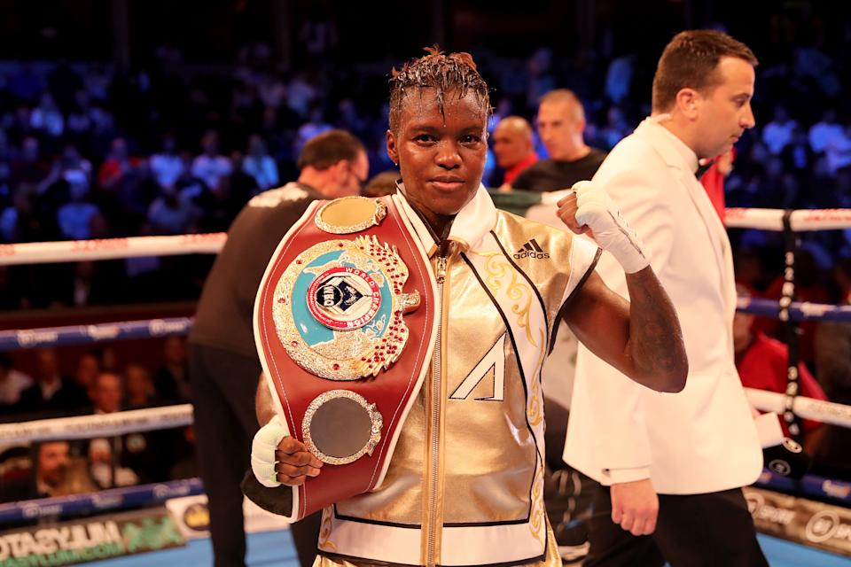 LONDON, ENGLAND - SEPTEMBER 27: Nicola Adams celebrartes retaining her belt after a split decision draw in the WBO World Flyweight Championship Title fight between Nicola Adams and Maria Salinas at Royal Albert Hall on September 27, 2019 in London, England. (Photo by James Chance/Getty Images)