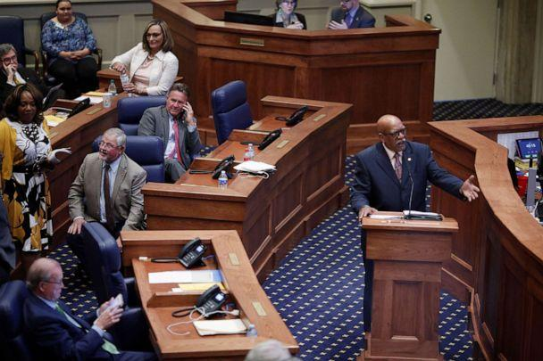 PHOTO: State Sen. Rodger Smitherman speaks during a state Senate vote on a strict anti-abortion bill at the Alabama Legislature in Montgomery, Ala., May 14, 2019. (Christopher Aluka Berry/Reuters)
