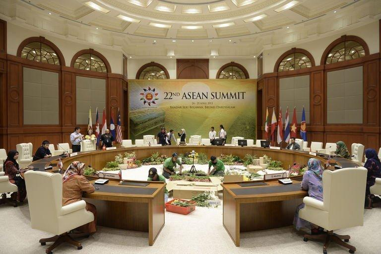 Preparations are made in Bandar Seri Begawan on April 23, 2013, before the meeting of the Association of Southeast Asian Nations leaders