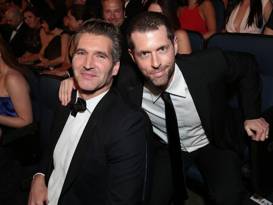 EXCLUSIVE - David Benioff, left, and D.B. Weiss attend the 67th Primetime Emmy Awards on Sunday, Sept. 20, 2015, at the Microsoft Theater in Los Angeles. (Photo by Alex Berliner/Invision for the Television Academy/AP Images)