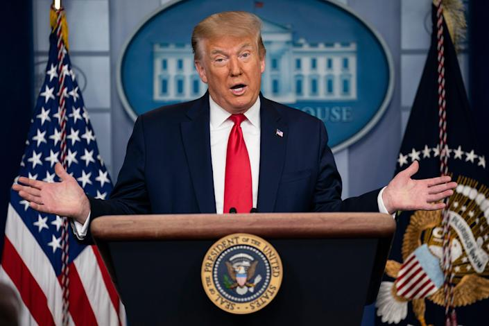 President Donald Trump speaks during a news briefing at the White House, Thursday, July 2, 2020, in Washington. (AP Photo/Evan Vucci)