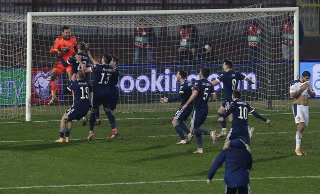 Scotland celebrate their shoot-out success