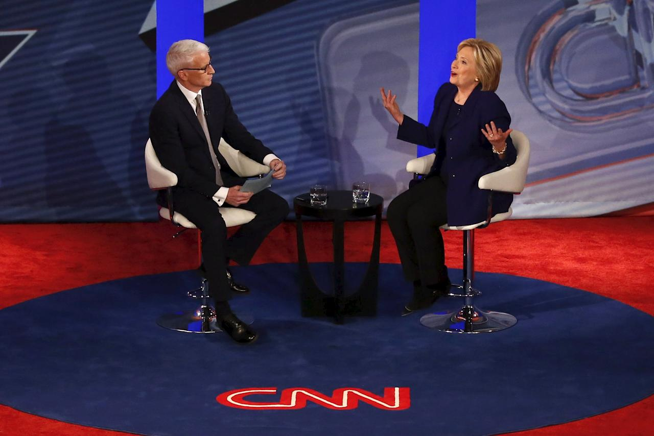 American journalist and CNN anchor Anderson Cooper moderates a CNN Democratic Town Hall with U.S. Democratic presidential candidate Hillary Clinton in Derry, New Hampshire