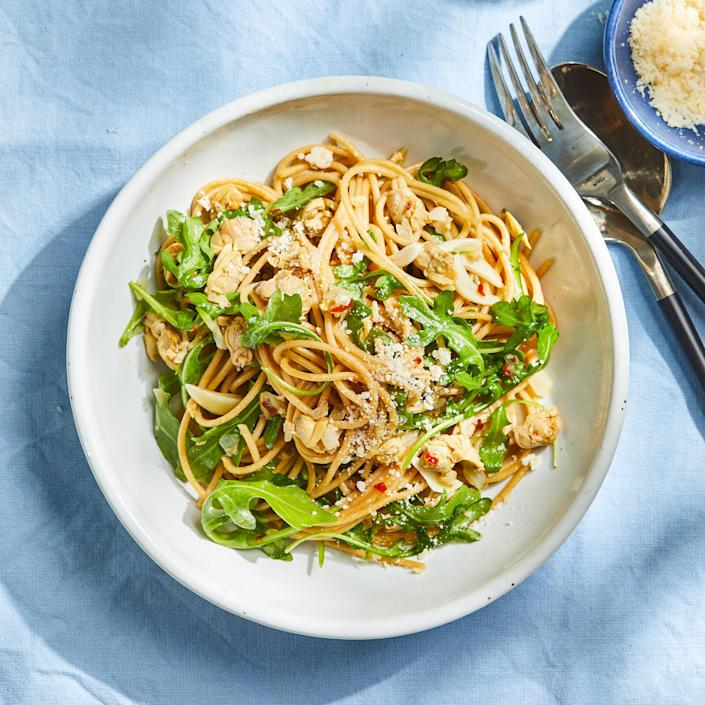 <p>Canned clams are a great ingredient to have on hand for a fast dinner. Plus, their juices amp up the flavor of this sauce. Look for cans with certification from the Marine Stewardship Council for the most sustainable choice.</p>