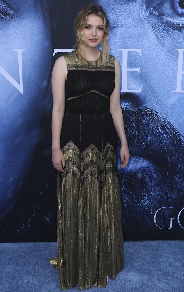 <p>The British actress opted for a black-and-gold gown by J. Mendel. (Photo: AP) </p>