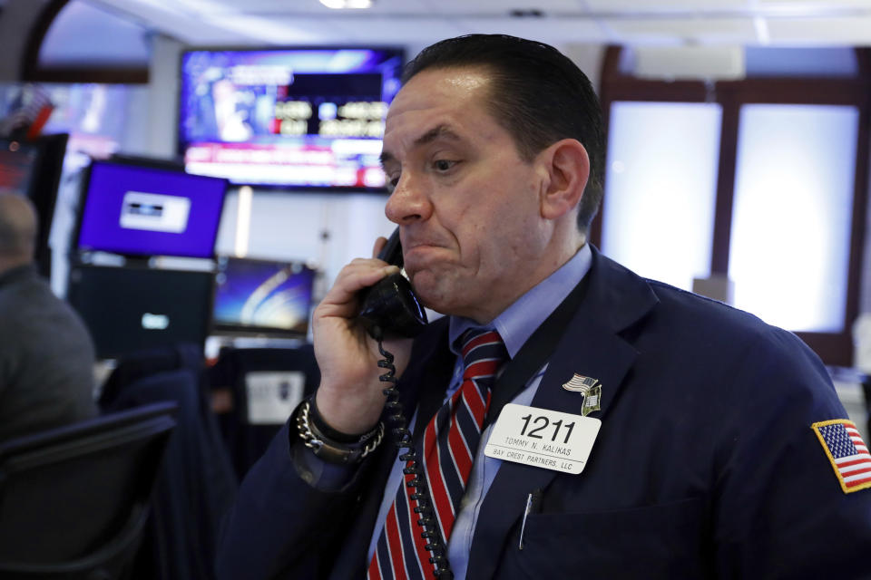 Trader Tommy Kalikas works on the floor of the New York Stock Exchange, Monday, Jan. 27, 2020. (Photo: AP Photo/Richard Drew)