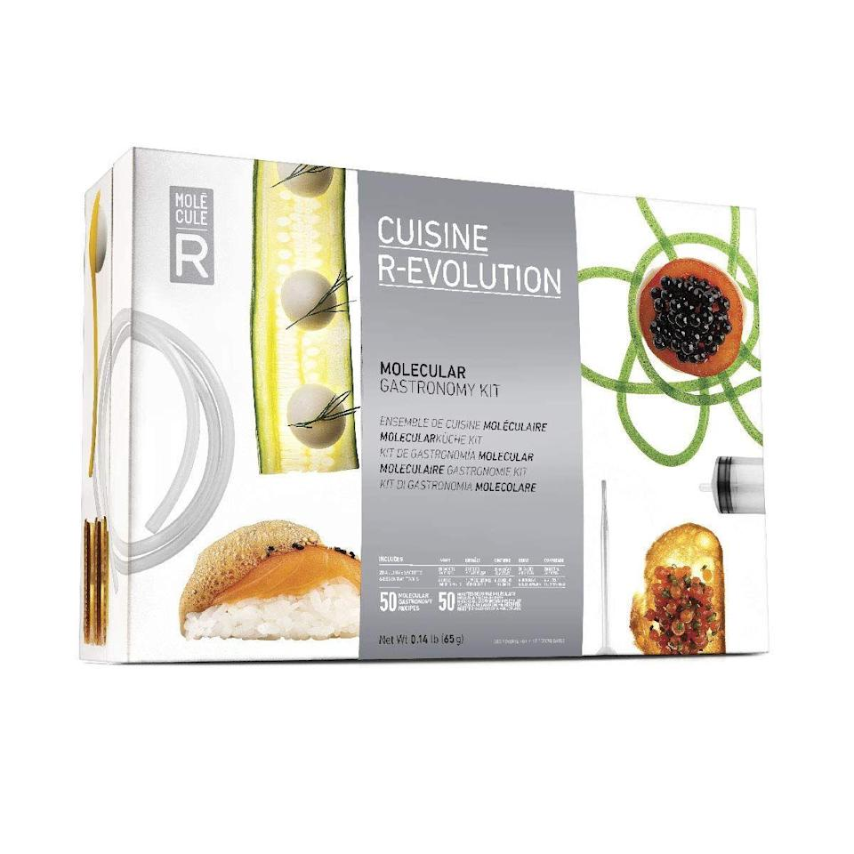 """<h3>The Chef Dad</h3><p>Help your dad escape his culinary comfort zone once and for all with a molecular gastronomy kit designed for foodies. The kit is outfitted with everything your father needs to create a delightfully light lemon foam, intriguing balsamic vinegar pearls, and enticing chocolate gel spaghetti.</p><br><br><strong>Molecule-R</strong> Molecule-R Gastronomy Starter Kit, $41, available at <a href=""""https://www.amazon.com/Molecule-R-Molecular-Gastronomy-Starter-R-evolution/dp/B00GN0YN86?th=1"""" rel=""""nofollow noopener"""" target=""""_blank"""" data-ylk=""""slk:Amazon"""" class=""""link rapid-noclick-resp"""">Amazon</a>"""