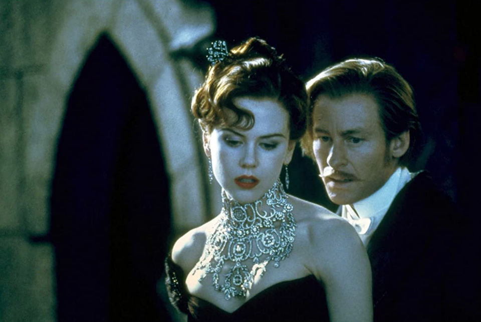 """<p>While Nicole Kidman's <em>Moulin Rouge </em>character, Satine, was nicknamed """"Sparkling Diamond,"""" it was her literal diamond necklace that caught everyone's attention in the musical. Set in an intricate lace design, the diamond choker extended along the her whole décolletage. </p>"""