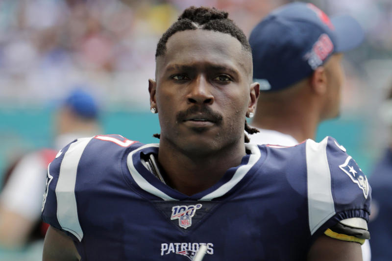 FILE - In this Sunday, Sept. 15, 2019, file photo, New England Patriots wide receiver Antonio Brown (17) on the sidelines,during the first half at an NFL football game against the Miami Dolphins in Miami Gardens, Fla. The Patriots released Brown on Friday, Sept. 20, 2019. (AP Photo/Lynne Sladky, File)