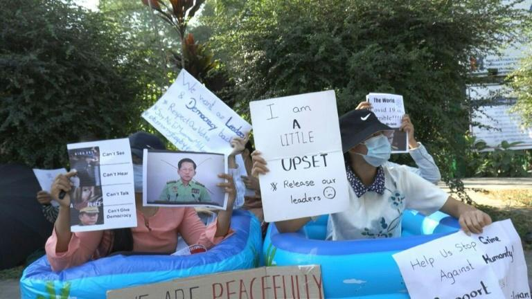 Generation Z protesters staged bathtub protest against the Myanmar military