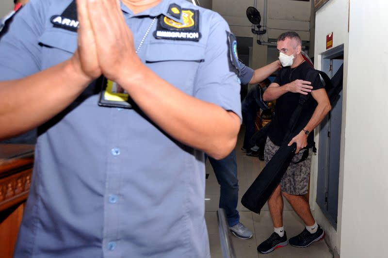 British national David Taylor is seen as he leaves Kerobokan prison after jailed for the murder of an Indonesian policeman, in Badung, Bali