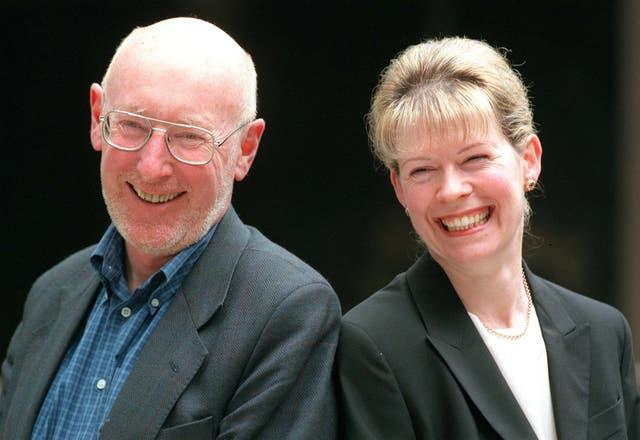 Sir Clive Sinclair with his replacement as Mensa chair Julie Baxter