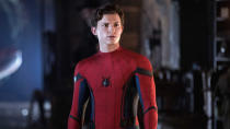 "Is there anyone who has not been rumoured to appear in the third MCU-affiliated <em>Spider-Man</em> movie? Depending on which source you read, just about every ensemble player from every Spidey adventure ever is set to converge on whatever this film ends up being. <a href=""https://uk.movies.yahoo.com/benedict-cumberbatch-return-doctor-strange-180252024.html"" data-ylk=""slk:Benedict Cumberbatch is confirmed to appear as Doctor Strange;outcm:mb_qualified_link;_E:mb_qualified_link;ct:story;"" class=""link rapid-noclick-resp yahoo-link"">Benedict Cumberbatch is confirmed to appear as Doctor Strange</a>, which suggests Tom Holland's Peter Parker might be set to explore the multiverse for real this time. (Credit: Sony/Marvel)"